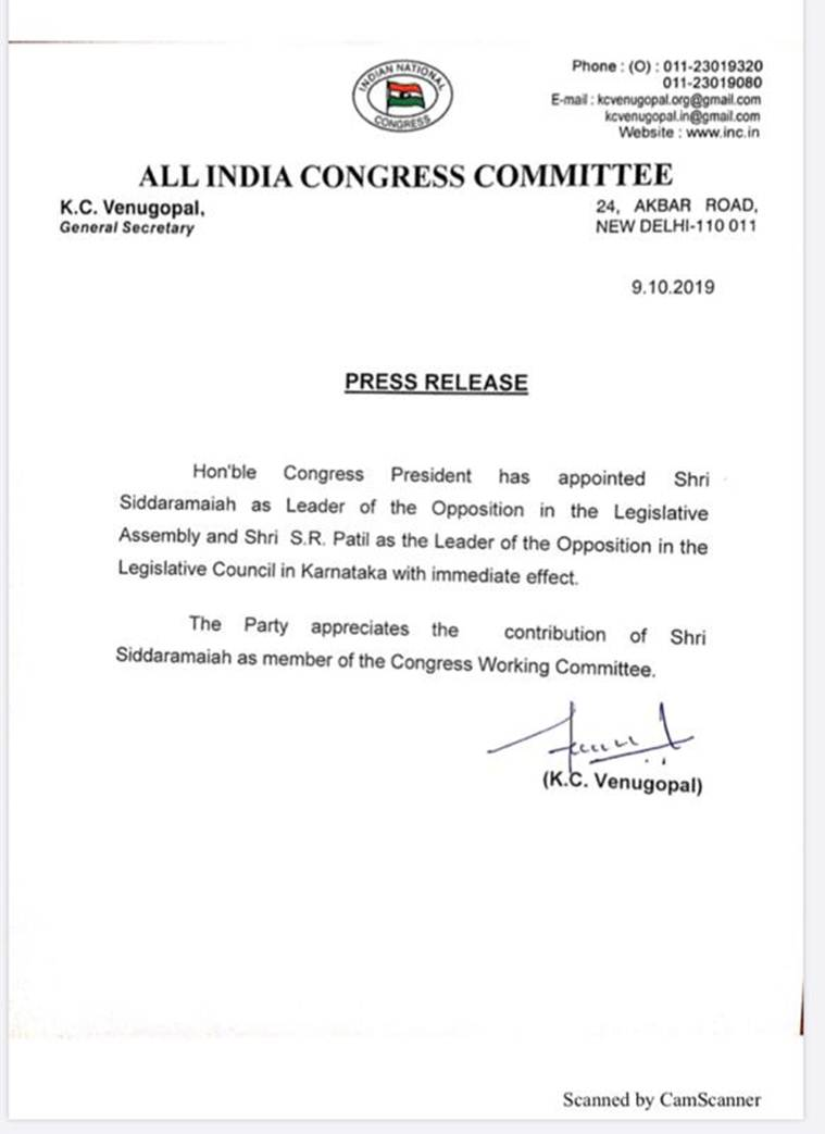 Congress appoints Siddaramaiah as LoP in Karnataka assembly, S R Patil in Council