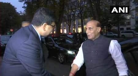Rajnath Singh in France, Rafale, Rajnath Singh rafale, French President Emmanuel Macron, IAF, Dussehra, Induction Ceremony of Rafale, Indian express
