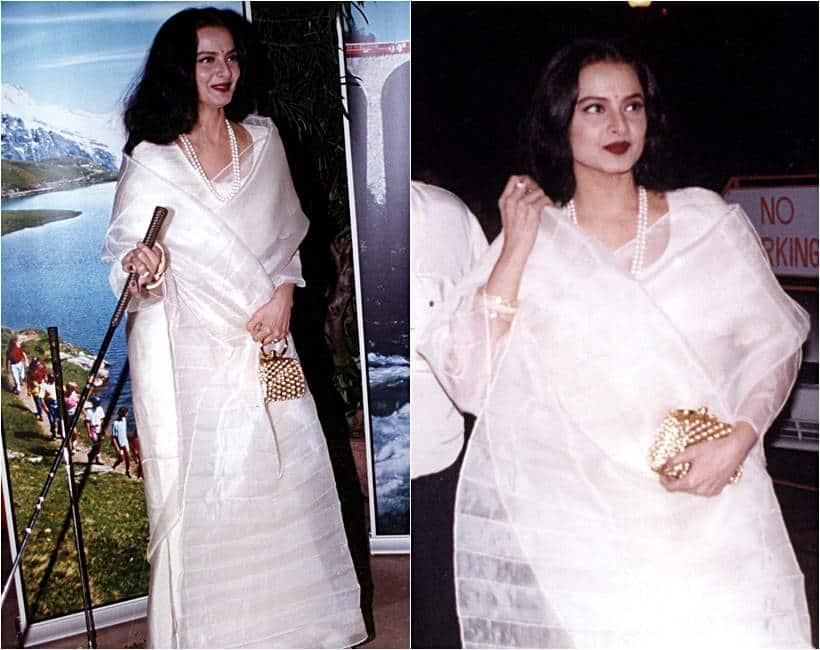 rekha birthday, happy birthday rekha, rekha white fashion looks