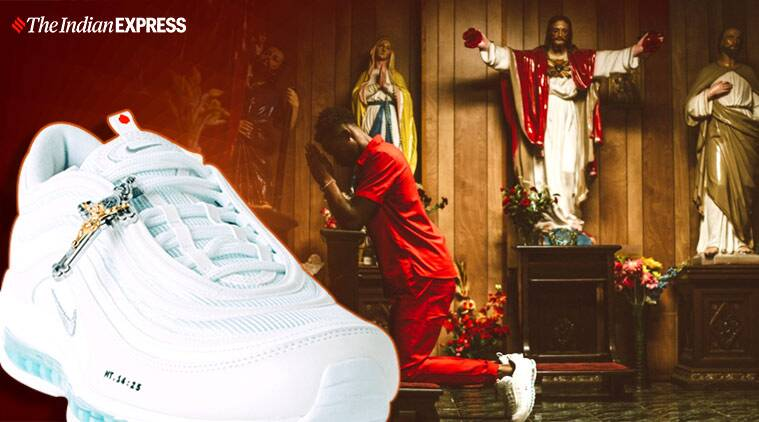 """jesus shoes, nike holy water shoes, mschf, mschf holy water, jesus shoes holy water, 3,000 Nike """"Jesus Shoes"""""""