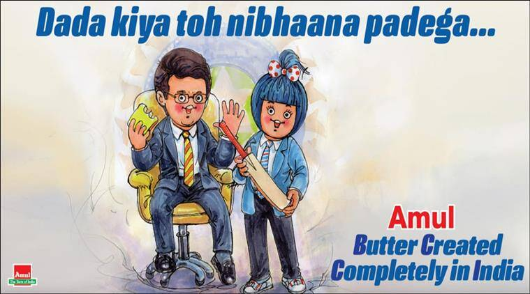 sourav ganguly, bcci, bcci president, sourav ganguly bcci president elect, amul cartoon, latest amul topical, indian express, sports news