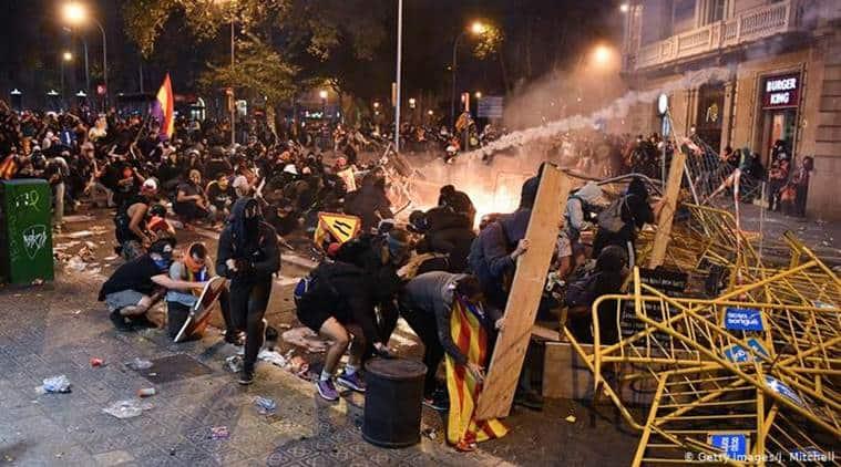 Barcelona protests, spain, ctalan speratists, arrest of pro independence leaders, world news, indian express
