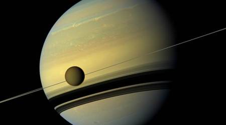 saturn's moon titan, titan moon, saturn titan moon, chemical composition of saturn's moon titan, chemical makeup of saturn's titan moon