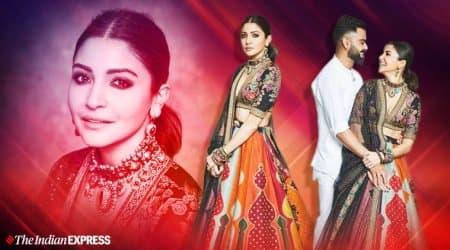 anushka sharma, virat kohli, anushka sharma, virat kohli sabysachi, diwali 2019, indian express, indian express news
