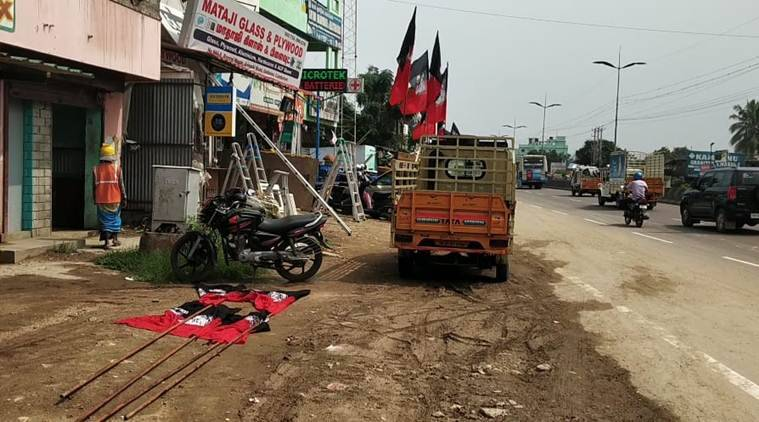 tamil nadu flagpole accident, Coinmbatore woman accident, tamil nadu aiadmk flagpole, tamil nadu wmaon accident, coinmbatore accident, indian express