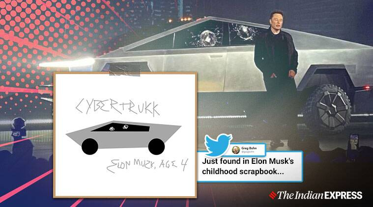cybertruck, tesla cybertruck, elon musk, cybertruck armoured glass shattered, cybertruck memes, viral videos, indian express