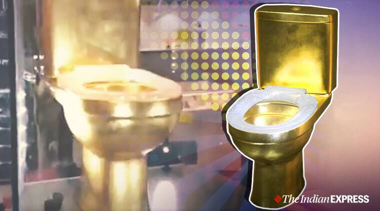 gold toilet, gold toilet diamond seat, china expo gold toilet, diamond studded gold toilet, CIIE 2019, China International Import Expo, viral news, indian express