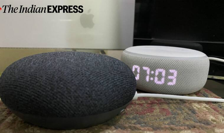Google Nest Mini, Google Nest Mini review, Google Nest Mini vs Amazon Echo Dot, Nest Mini vs Echo Dot with clock