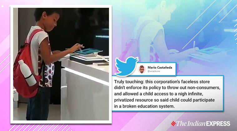 kid does homework in mall store, manager allows student to use tablet in mall, kid gets tablet viral video doing homework, brazil kid viral video using tablet mall, viral videos, trending, indian express
