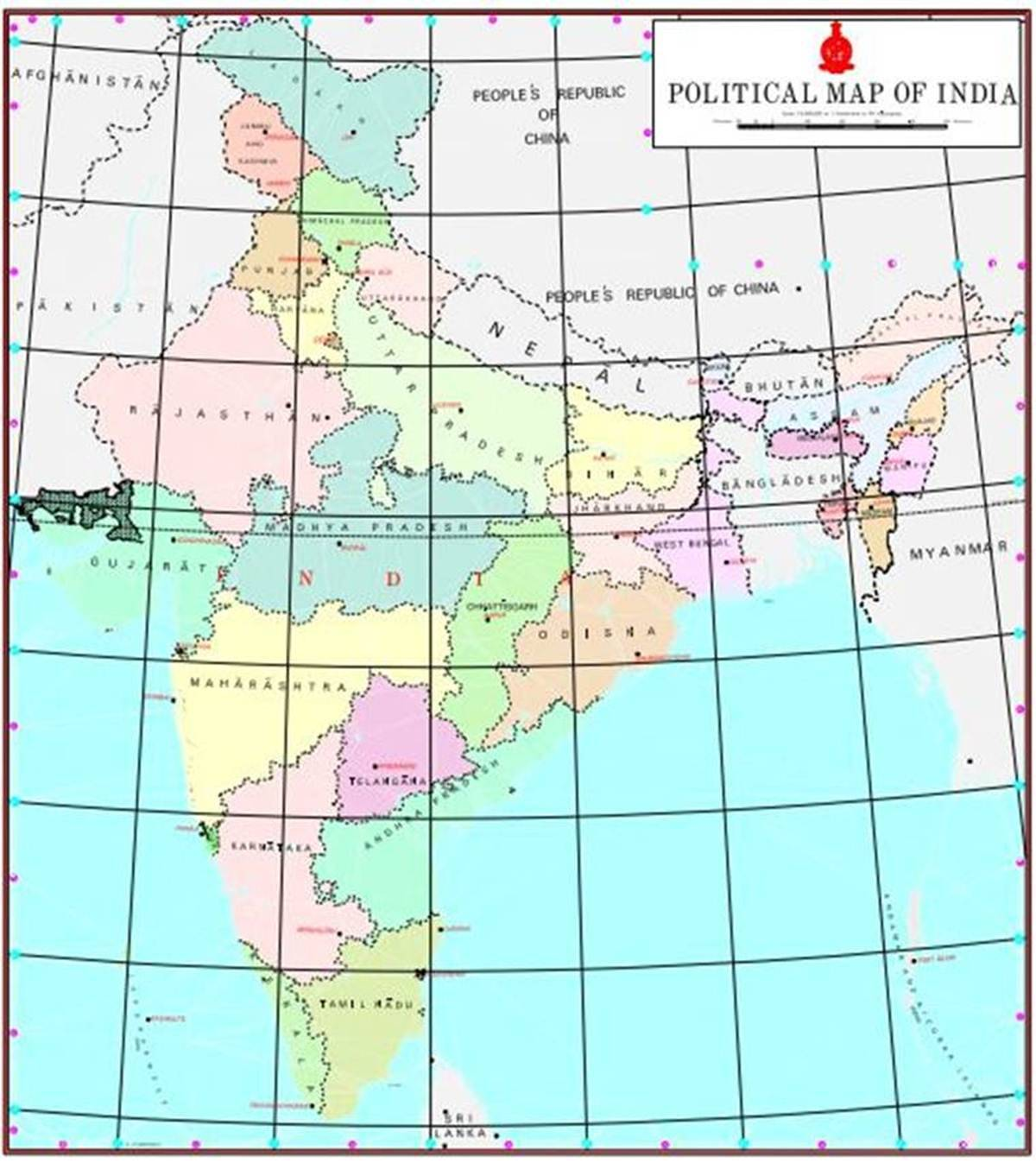 map of india with states capitals and union territories 28 States 9 Union Territories Here Is The New Map Of India map of india with states capitals and union territories