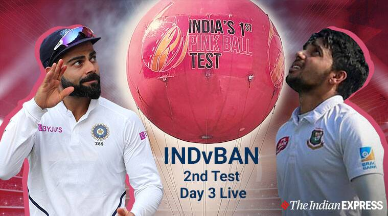 India vs Bangladesh 2nd Test Day 3 Live Cricket Score Online: India four wickets away from maiden D/N Test win