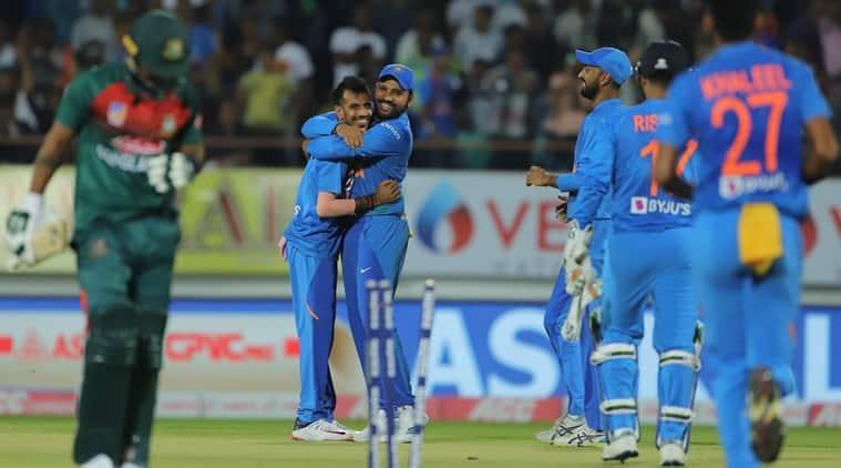 india vs bangladesh, Rohit Sharma batting, Rohit Sharma 85, Rohit Sharma Sixes, India beat Bangladesh, Rajkot highlights, ind vs ban 2nd t20i, rohit sharma, yuzvendra chahal, india cricket news, sports news