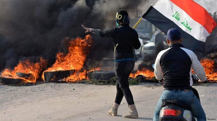 Iraq protest, Iraq anti government protest, Iraq Nasiriyah city protest, World news Indian Express