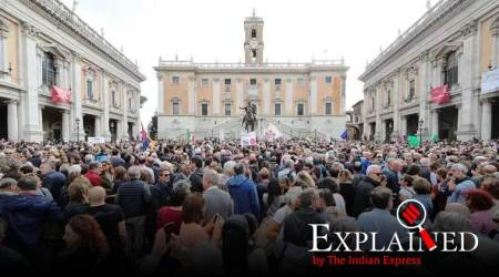 Italy Modena protest, Sardines movement Europe, Bella Ciao, Bella Ciao Matteo Salvini, Matteo Salvini Italy, World War II Bella Ciao, Indian Express Explained