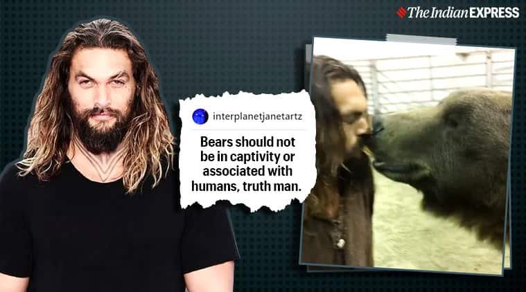 jason momoa, apple tv see, jason momoa bear video, see jason momoa bear scene, viral videos, indian express