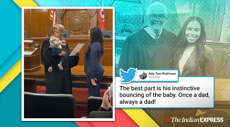 judge bounces lawyer mom baby oath, judge manages baby mom swearing-in ceremony, Tennessee lawyer mom oath judge managed baby, viral videos, good news, indian express
