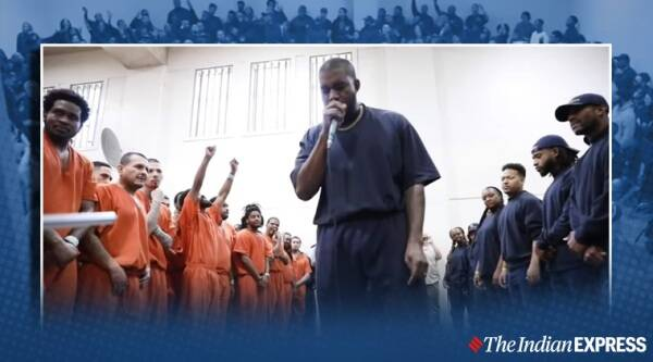 Kanye West performs for inmates inside Houston jail, Kanye West, Kanye West viral video, kanye west jail video, trending, indian express, indian express news