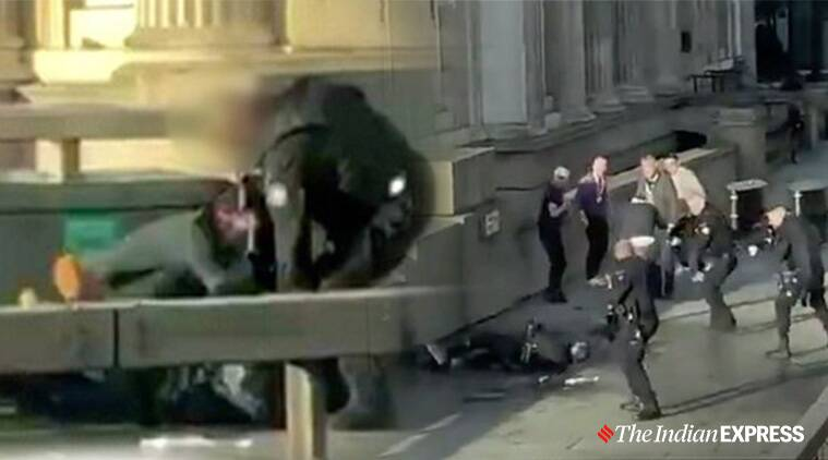 London, London Bridge attack, Public praised for pinning the suspect pinned down before police arrived, #LondonBridge, Public hailed as hero in London Bridge Attack, Viral videos, Trending, Indian Express news
