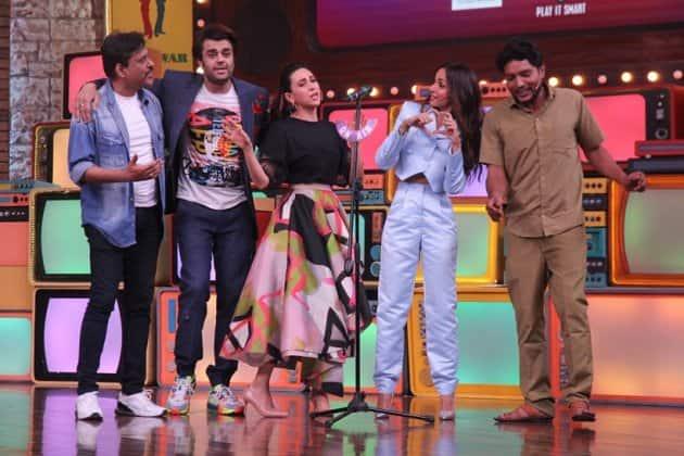 Malaika Arora, Karisma Kapoor and Maniesh Paul on the sets of Movie Masti with Maniesh Paul photo
