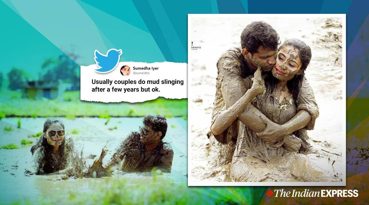 A Muddy Romance Pictures Of Couple Posing In Mud Leaves Netizens