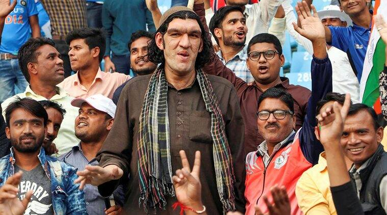 8 feet afghan fan, tall afghan cricket fan, Sher Khan Afghanistan, Tall 8 feet Afghanistan cricket fan, Afghanistan West Indies match, Lucknow city news, Indian express sport news, latest cricket news
