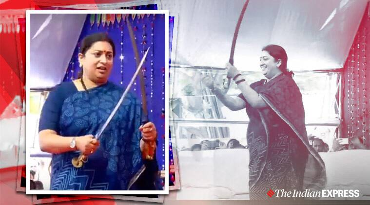 smriti irani, talwar raas, smriti irani sword dance, smriti irani bhavnagar, viral videos, indian express