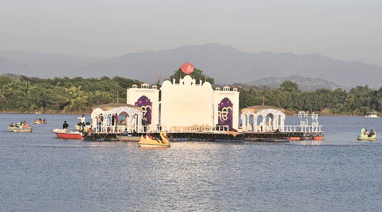 Image result for sukhna lake guru naNAK FLOATING IMAGES