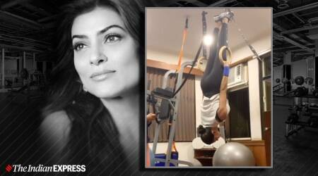 gymnastic rings, indianexpress.com, indianexpress, sushmita sen, sushmita sen fitness, fitness goals, gymnastics olympic rings, gymnastic ring benefits, gym exercises for lean physique, how to have a lean physique, miss universe sushmita sen, sushmita fitness videos, fitness videos,