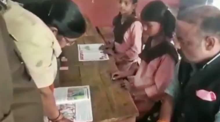 UP school english teacher video, english teacher video UP school, UP govt school teacher video, Unnao school english teacher video, indian express news