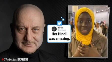 anupam kher, bollywood fan foreigners, anupam kher fan speaks hindi, senegal girl speaks hindi, africa hindi films, indian express