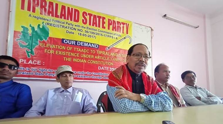 tripura bandh, Tripura Tribal Areas Autonomous District Council, TTAADC elevated to territorial council, Tipraland State Party, Chittaranjan Debbarma, tripura strike, Tipraland statehood demand, indian express,