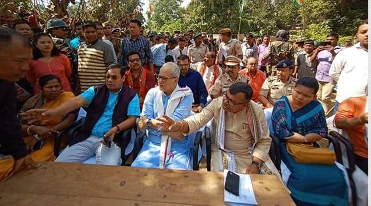 Bru migrants in Tripura, Tripura bru migrants road blockage, food supplies to Bru migrant camps, bru migrants return to mizoram, indian express, latest news, Tripura Deputy Chief Minister Jishnu Devvarman
