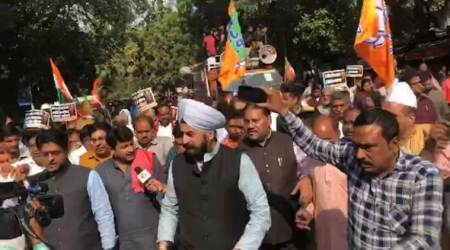 Rafale case, Rafale deal, Delhi BJP, Delhi BJP protests, Delhi BJP AAP office protests, Delhi BJP protests near AAP office, BJP nationwide protests, India news, Indian Express