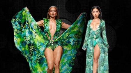 jungle dress, green versace dress, versace Jennifer Lopez, versace fashion nova