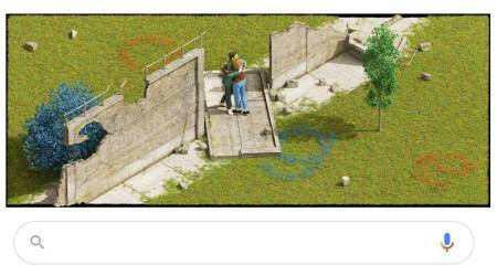 google doodle, fall of the berlin wall, 30th anniversary of the fall of the berlin wall, cold war, east germany west germany, latest google doodle, indian express
