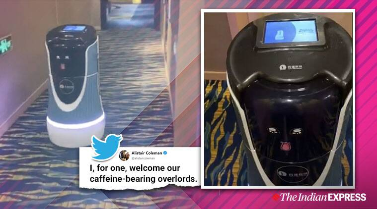 robot room service, robots in hotels, robots hospitality sector, robot waiters, chinese hotel robot butler, viral video, funny news, indian express