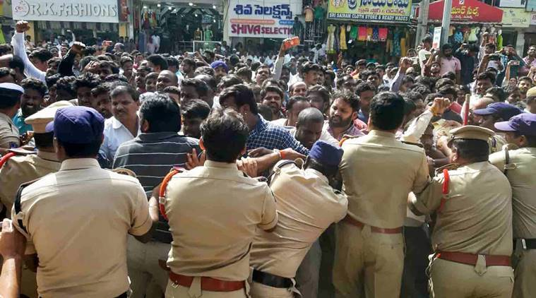 Watch: Locals protest over Hyderabad vet rape-murder case, throw slippers at cops