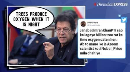 imran khan, pakistan, imran khan trees oxygen remark, trees give oxygen at night. imran trees oxygen at night, viral videos, indian express