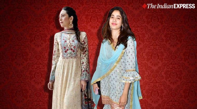 Karisma Kapoor, Karisma Kapoor ethnic wear, janhvi kapoor ethnic wear, weddings season bollywood inspiration, indian express