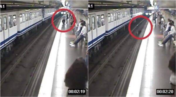 passenger fall subway tracks, woman distracted by phone, madrid metro tracks woman falls, woman falls before oncoming train, distracted by phone woman falls into tracks, viral news, indian express