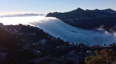 clouds, waterfall clouds, clouds float like waterfall, mizoram waterfall clouds, viral news, viral videos, indian express