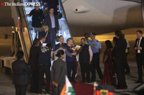 Angela Merkel, Angela Merkel in India, Angela Merkel India visit, Angela Merkel PM Modi, PM Modi Angela Merkel, India news, Indian Express