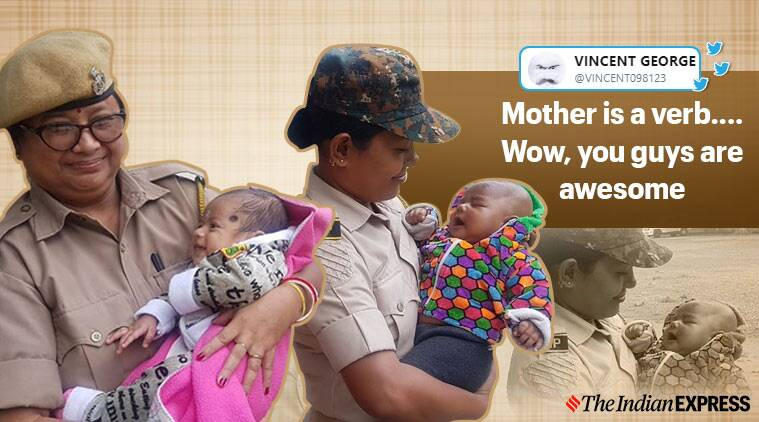 Assam police look after babies while mothers wrote exam, Assam Police, Teachers' Eligibility Test in Assam, TET, Trending, Indian Express news