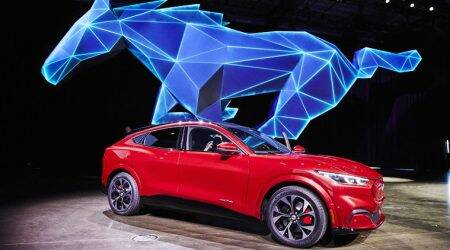ford mustang mach e, mustang suv launch, ford motors, los angeles auto show, auto news, indian express