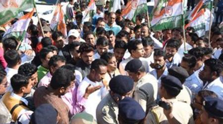 134 congress workers detained in tripura, tripura congress, Gandhi Vichar Sandesh Padyatra, tripura congress police lathicharge, indian express