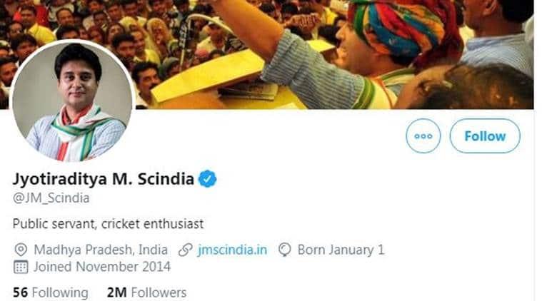 jyotiraditya scindia twitter, jyotiraditya scindia twitter bio, congress scindia twitter, congress madhya pradesh, scindia kamal nath congress