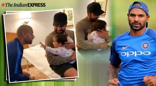 shikhar dhawan, Rohit sharma, rohit sharma daughter, rohit sharma daughter viral video, india, indian cricket team, trending, indian express, indian express news