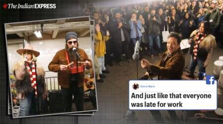Alanis Morissette Busks, Jimmy Fallon, Jimmy Fallon subway dance show, Jimmy Fallon Alanis Morissette viral video, NYC Subway, trending, indian express, indian express news