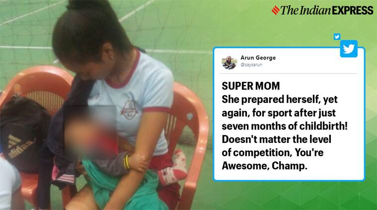 breastfeeding, player mom breastfeeding on filed, mizoram player breastfeeding baby, mizoram state games 2019, Tuikum volleyball team, viral news, good news, indian express