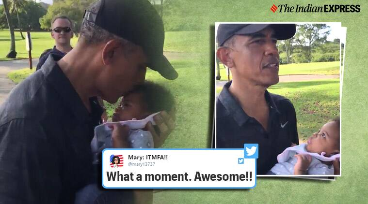 Barak Obama, Obama with baby, Obama with three-month-old baby, Obama with with kids, Obama kisses three-month-old baby, Obama with baby in Hawaii, Hawaii, Viral Video, Trending, Indian express news